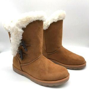 Falls Creek Faux Fur Brown Suede Snow Winter Boots